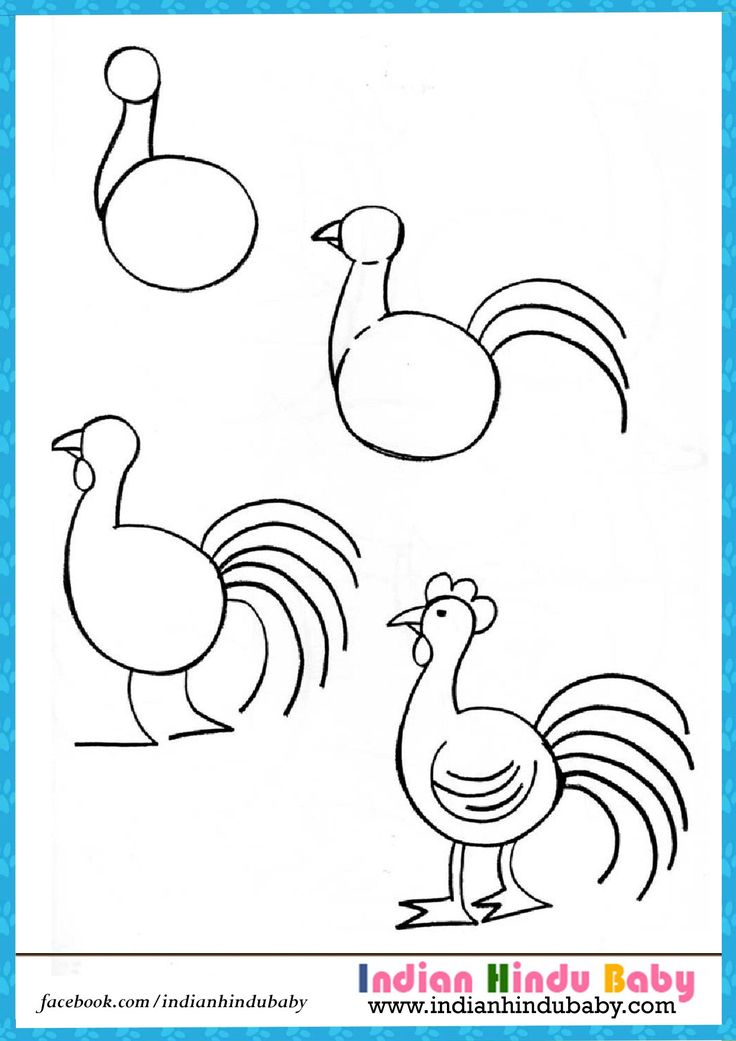 teach your kid to draw hen with simple drawing tips https - Simple Drawing Pictures For Children