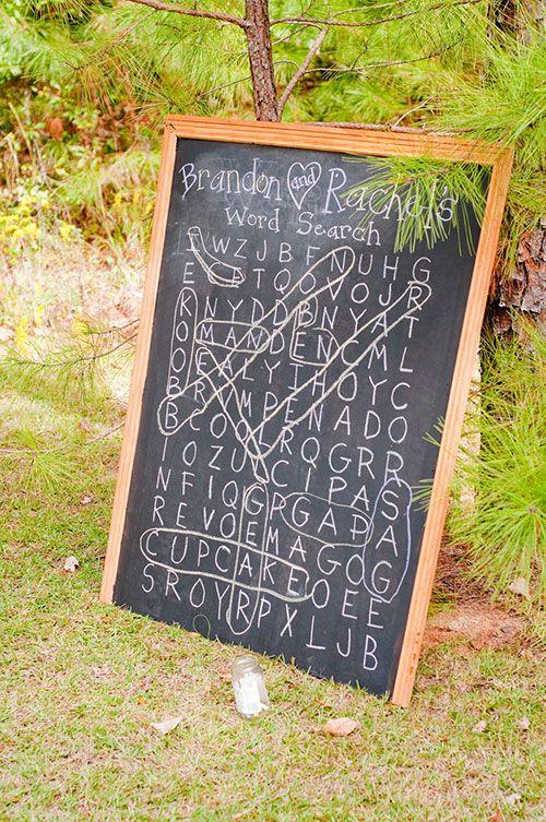 Word search wedding reception idea | Brides.com