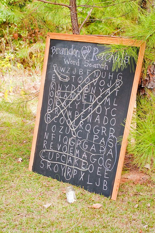 Word search wedding reception idea | Brides.com