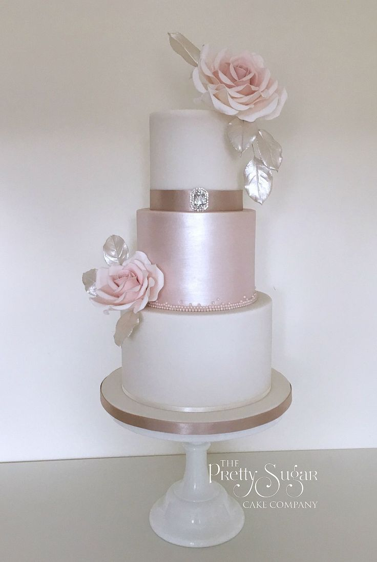 Mink and blush lustre wedding cake