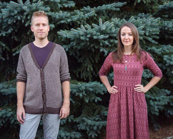 Men's handknit cardigan, organic cotton tee, organic cotton chinos and organic cotton reverse faux wrap dress