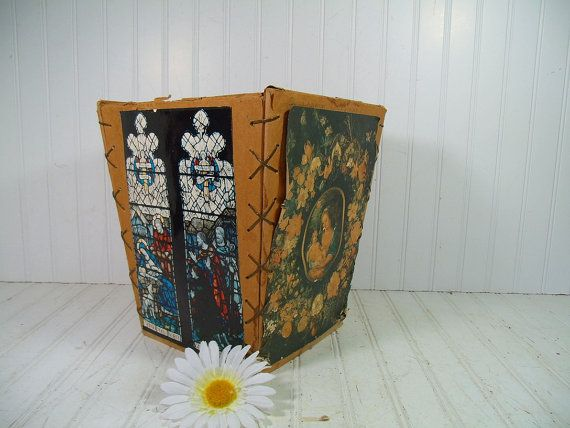 Vintage Folk Art Hand Crafted Waste Bin  Retro Boy by DivineOrders