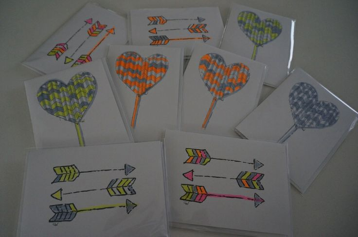 """NEW!  """"Hearts + Arrows"""" collection.  Limited Edition.  Each card is individually hand-coloured in fluoro brights!  $7 each. Designed by Claire Webber, Hobart, Tasmania  For enquiries email: webberclaire@gmail.com"""