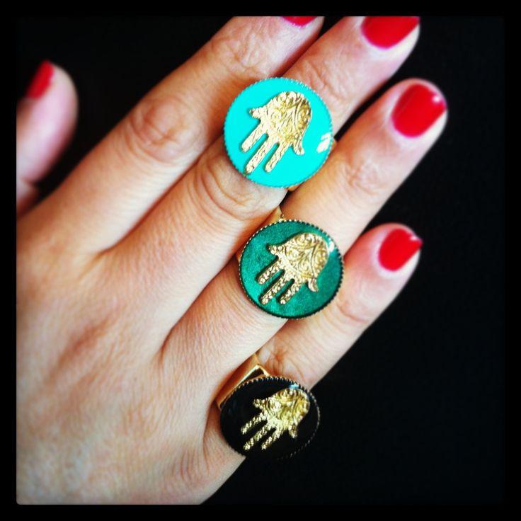 New enamel hamsa hand charm rings available in aqua, emerald & black, by Dana Levy