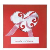 Rote Hochzeitskarten mit Herz und Zierschleife - online bestellen bei Top-Kartenlieferant in Aachen!
