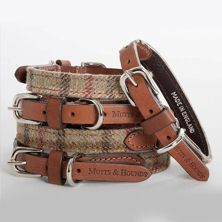tweed & leather dog collar by mutts & hounds | notonthehighstreet.com