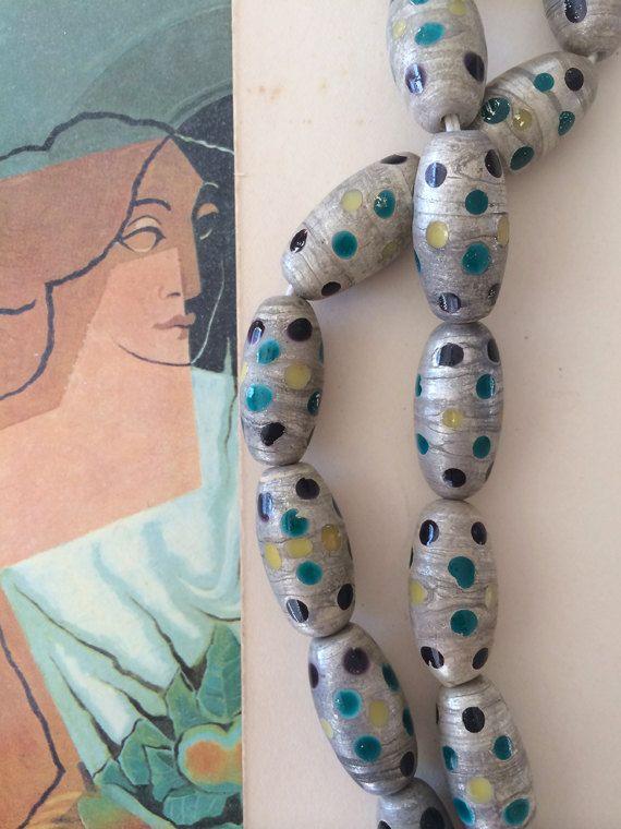 Poka Dot kralen, Vintage keramische kralen, Boho kralen, 10 x 20mm, 10st