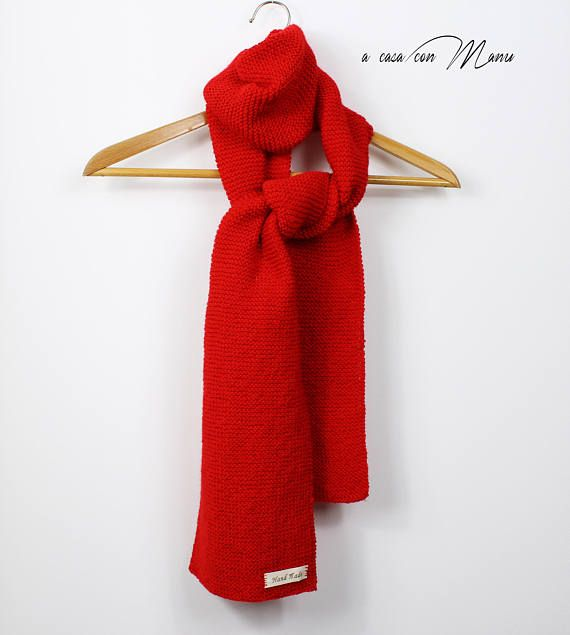 Red knitted woolen scarf handmade scarf Christmas gift long