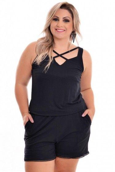 Macaquinho Plus Size Visco Black
