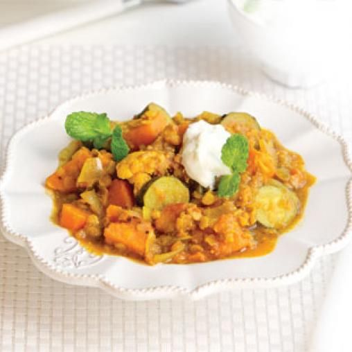 Sweet potato and red lentil curry