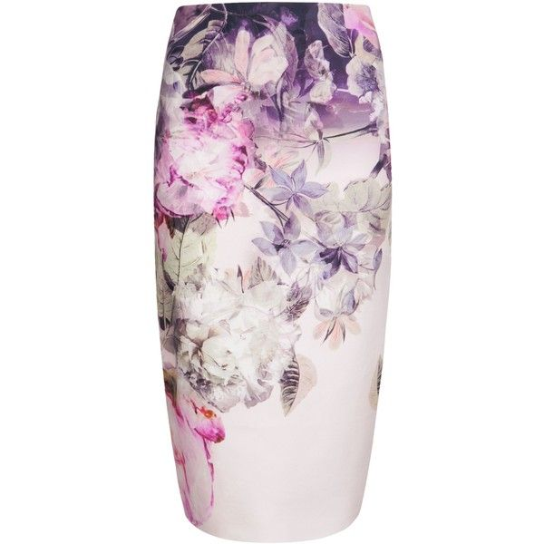 Ted Baker Demii Pure peony ombre pencil skirt featuring polyvore fashion clothing skirts navy women ted baker skirt navy skirt navy pencil skirt pink bodycon skirt knee length pencil skirt