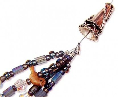 How to use a cone with crimps to finish a multi-strand necklace.