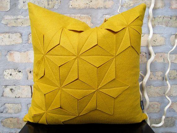 Geometric Golden Yellow Wool Felt 18x18 Pillow by whitenest, $75.00