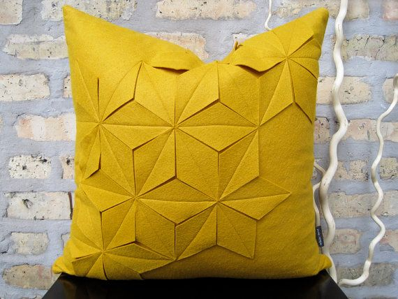 Geometric Golden Yellow Wool Felt 18x18 Pillow by whitenest
