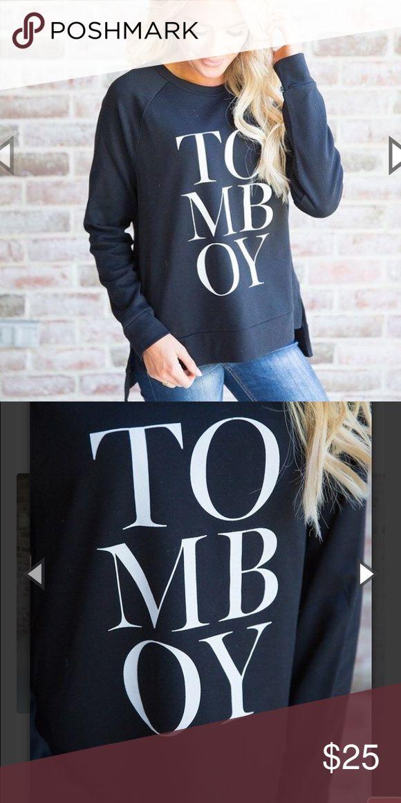 "Women's Black and White ""Tomboy"" Sweatshirt Brand new! Cute relaxed fit. Tops Sweatshirts & Hoodies"