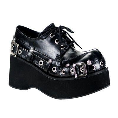 Black Lace Up Platform Shoes