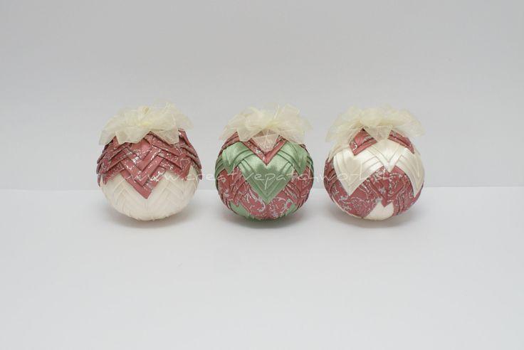 6 cm vianočné gule, nešitý patchwork