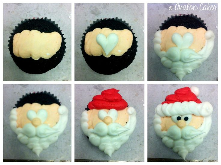 Santa Cupcakes from Avalon Cakes.  She used Wilton tip #10.  So talented.