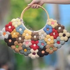 Crochet 6 Petal Puff Stitch Flower Purse