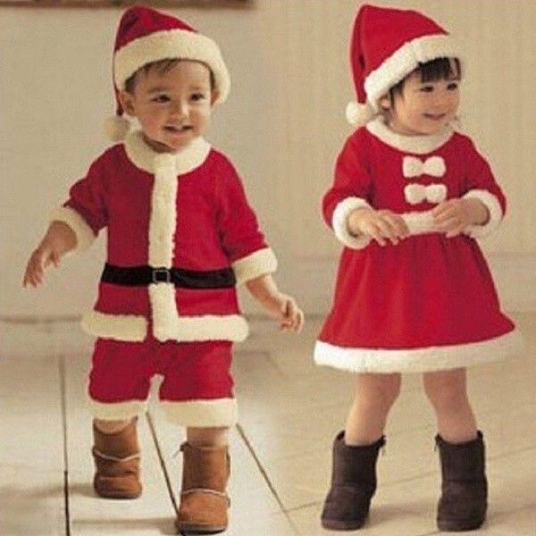 e622d8523cff Newborn Baby Girl Boy Christmas Costume Santa Claus HatRomper ...