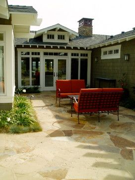 craftsman - patio - san diego - The Design Build Company.  Interesting roof treatment and french doors - via Houzz