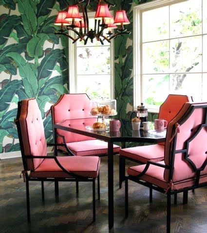Inspiration from the iconic Beverly Hills Hotel 1940s banana leaf wallpaper.
