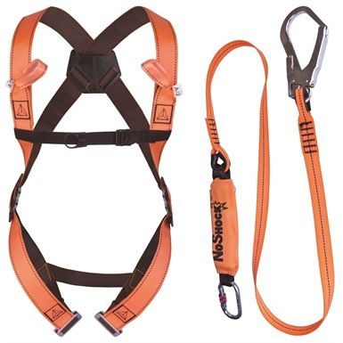 The DeltaPlus Scaffold Fall Arrest Safety Harness  with 2 metre webbing shock absorbing lanyard and is the perfect fall arrest equipment for scaffolding workers and anyone working at height. Conforms to EN 355, EN  355, EN 361 and EN 363 current health and safety regulations relating to working at height.