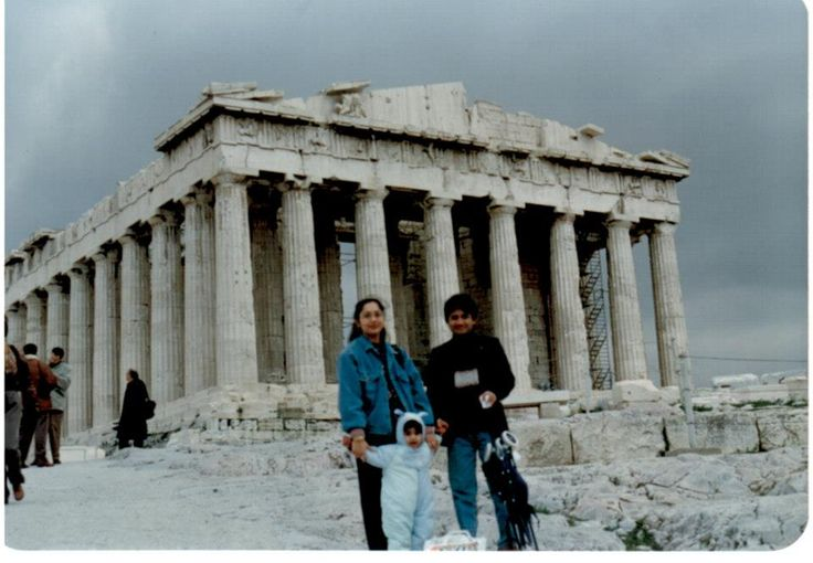 At Acropolis, Athens, Greece with son and my wife