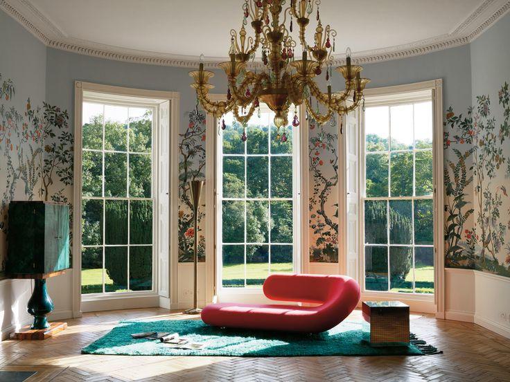 Living Room - Large Chandelier, Pink Modern Sofa