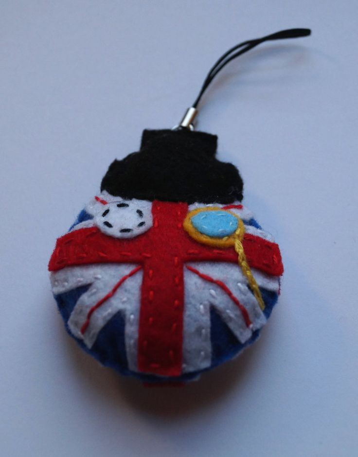 Great Britain Ball handmade geeky key ring made from felt
