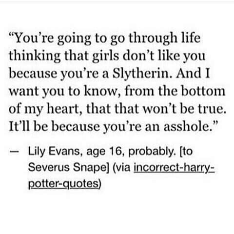 Am I the only one in thinking that Lily should have been Sorted into Slytherin?
