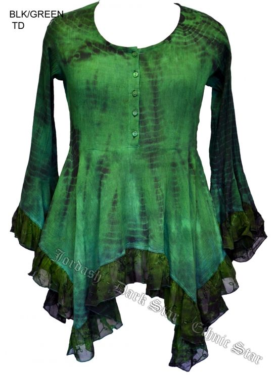 Dark Star Green and Black Gothic Georgette Renaissance Bell Sleeve Top [JD/BL/6112GB] - $48.99 : Mystic Crypt, the most unique, hard to find items at ghoulishly great prices!
