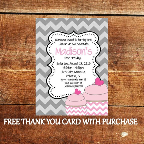 Cupcake First Birthday Invitation  Printable Birthday by JoyfulINK, $15.00