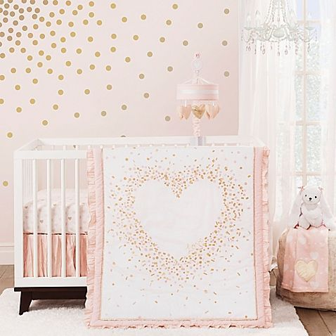 Your sweet girl will delight in a nursery decorated with the charming Lambs & Ivy Sweetheart Crib Bedding Collection. The Sweetheart 3-Piece Crib Bedding Set includes a soft comforter, a pink and gold heart print sheet, and matching crib skirt.