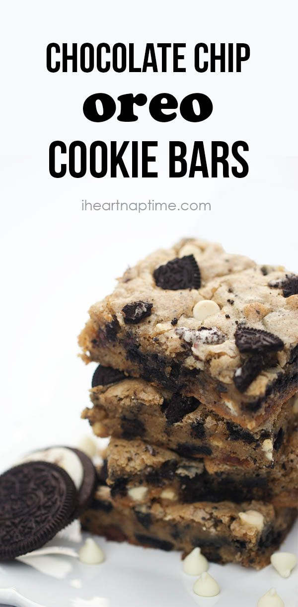 Chocolate chip OREO cookie bars on iheartnaptime.com ...These are incredible! Seriously, you need to make these to see for yourself!
