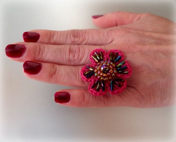 Crocheted Flower Ring / Fuchia waxed Cord & Colourfull Seed Beads / Celebration Gift / Crocheted Jewelry / Whimsical / Crochet Ring by Vintagespecialmoment on Etsy