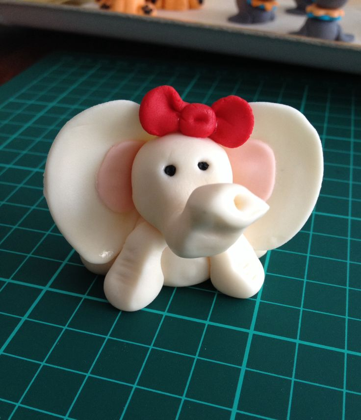 Baby Elephant - colored vanilla fondant cupcake/cake toppers