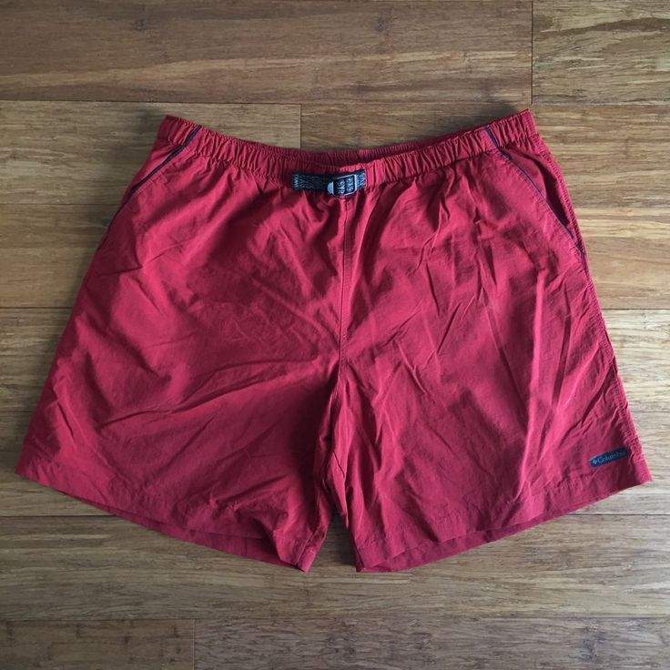 Men's Columbia Outdoor Shorts Swim Trunks Mesh Lined Zip Pocket Size XL EUC Red #Columbia