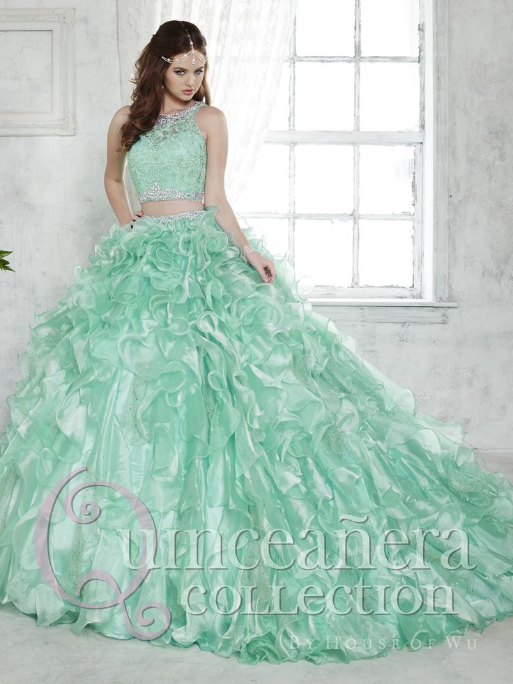 Mint Green Beaded Lace Two Pieces Quinceanera Dresses 2016 Ruffled Organza Sleeveless Ball Gown Detachable debutante gowns