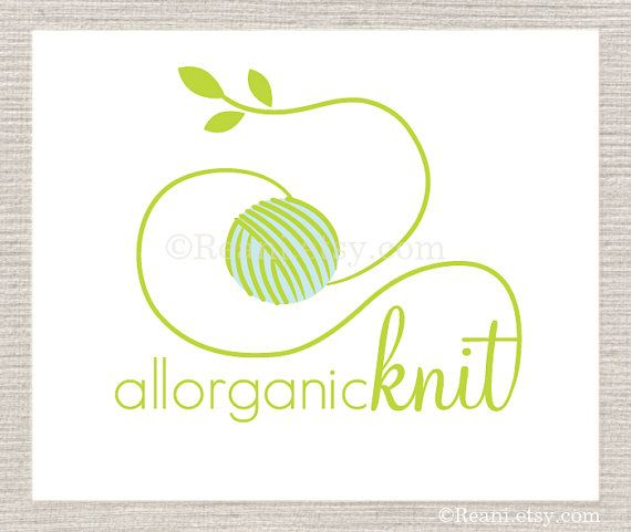 Custom Business Logo Design OOAK - Organic Green Leaves Crochet Knit Logo By ReaniDesigns on Etsy