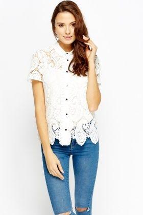 Paisley Lace White Blouse