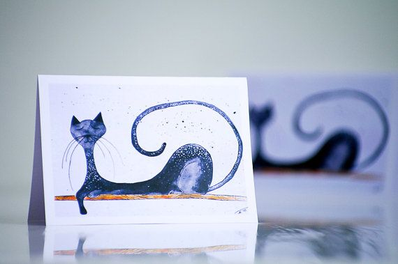 Greeting card with Cat - Gray black Elegant sleeping kitty - Cat illustration painting - Goodnight - Happy Birthday cute funny animal card