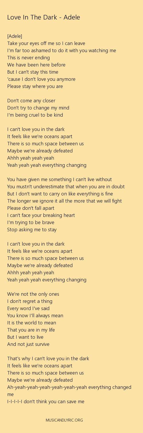 Adele - Love In The Dark lyrics, pdf - Musicandlyrics