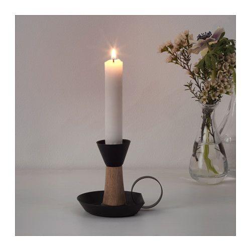 ÄNDLÖS Candlestick, black, brown