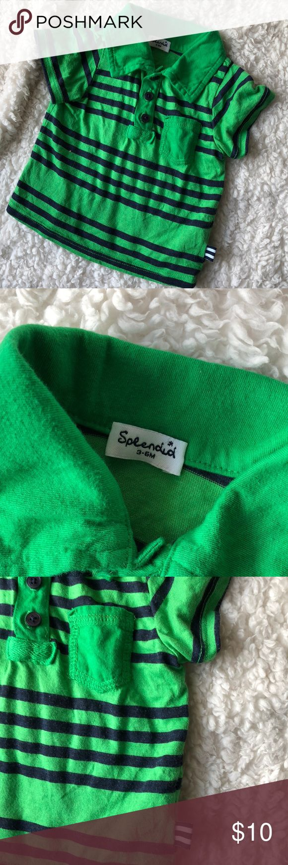 Splendid baby polo. Size 3-6 mo Green and navy polo. Soft light knit material. In good used condition. Some overall natural wear to the fabric, but no holes or stains. Splendid Shirts & Tops Polos