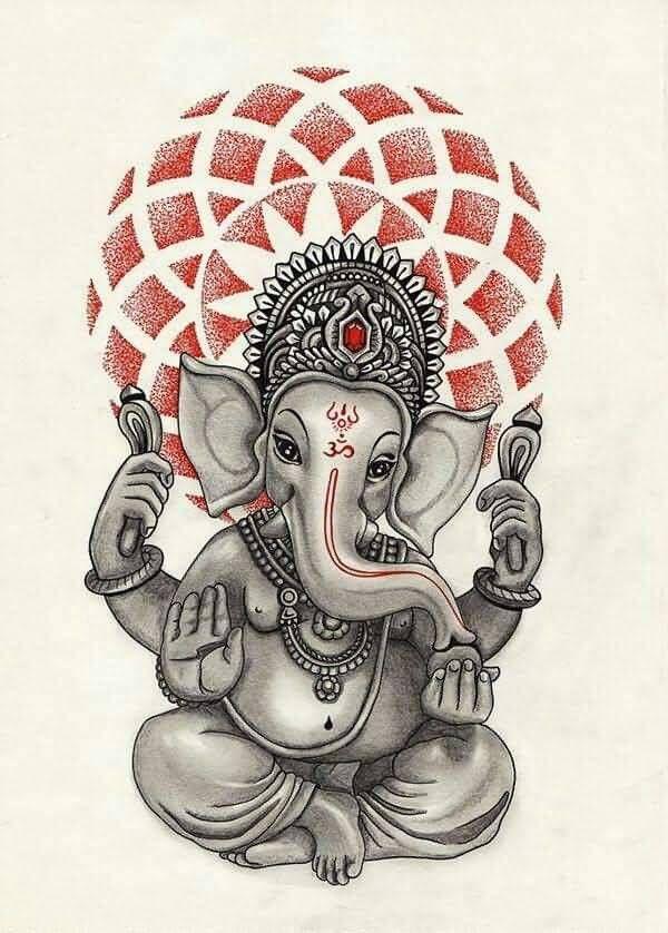 Geometric Ganesha Tattoo Design Idea                                                                                                                                                                                 Más