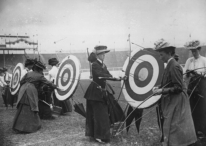 Women competitors in the national round archery event, which was won by Sybil 'Queenie' Newall of Great Britain.