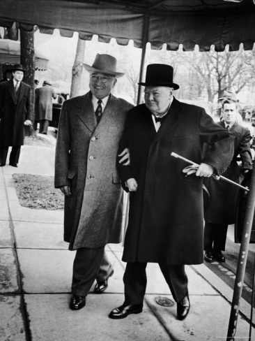 Pres. Harry Truman Walking Arm-In-Arm with British Prime Minister Winston Churchill, Blair House