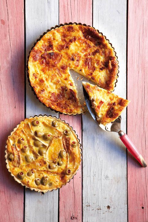 Camembert, leek and green olive quiche