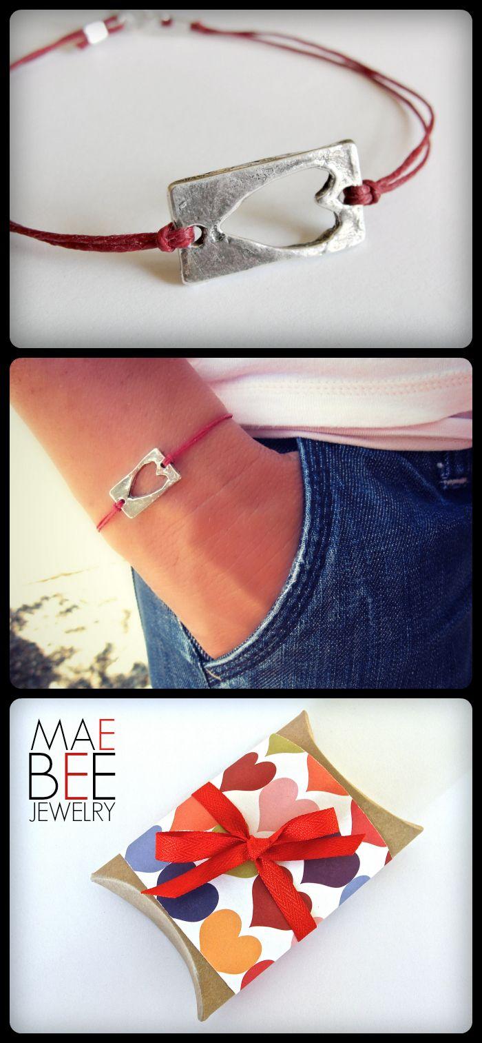 Sweet! Sterling Cut Out #Heart on red linen #bracelet from JewelrybyMaeBee on #Etsy.  www.jewelrybymaebee.etsy.com